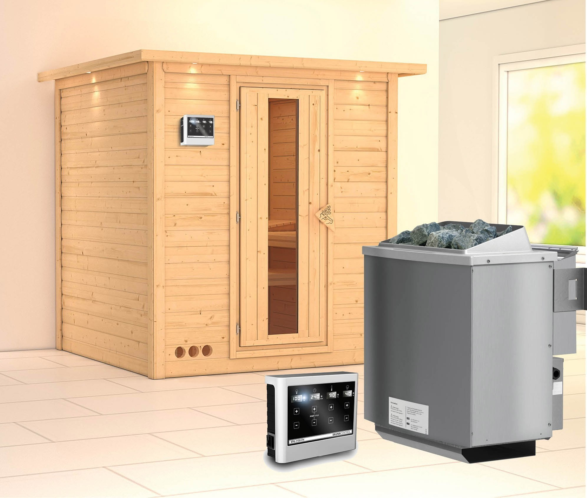 Karibu Sauna Mojave 40mm Dachkranz + Bio Ofen 9kW Holztür Bild 1