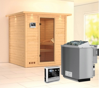 Karibu Sauna Mojave 40mm Dachkranz + Bio Ofen 9kW extern classic Tür Bild 1