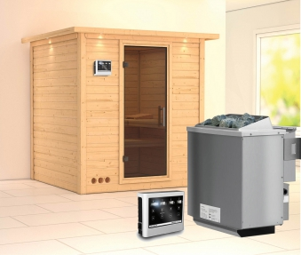 Karibu Sauna Mojave 40mm Dachkranz + Bio Ofen 9kW extern moderne Tür Bild 1