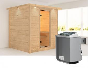 Karibu Sauna Mojave 40mm Dachkranz + Ofen 9kW intern classic Tür Bild 1