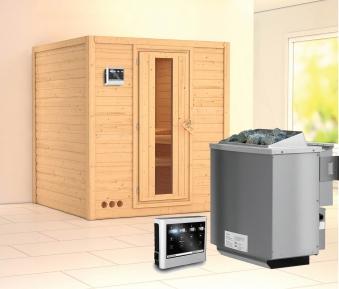 Karibu Sauna Mojave 40mm mit Bio Ofen 9kW Holztür Bild 1