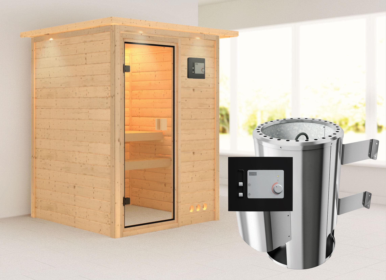 Karibu Sauna Nadja 38mm 230V Dachkranz + Ofen 3,6kW extern classic Tür Bild 1