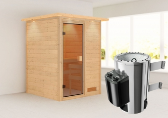 Karibu Sauna Nadja 38mm 230V Dachkranz + Ofen 3,6kW intern classic Tür Bild 1