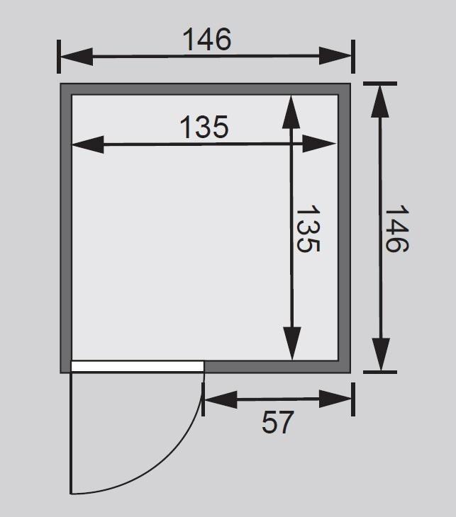 Karibu Sauna Nadja 38mm 230V mit Ofen 3,6kW extern classic Tür Bild 2