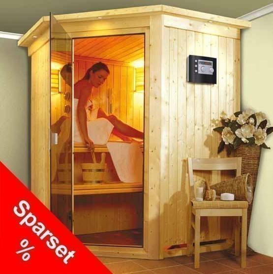 Karibu Sauna Nanja 68mm 230V Dachkranz + Bio Ofen 3,6kW intern Sparset Bild 1