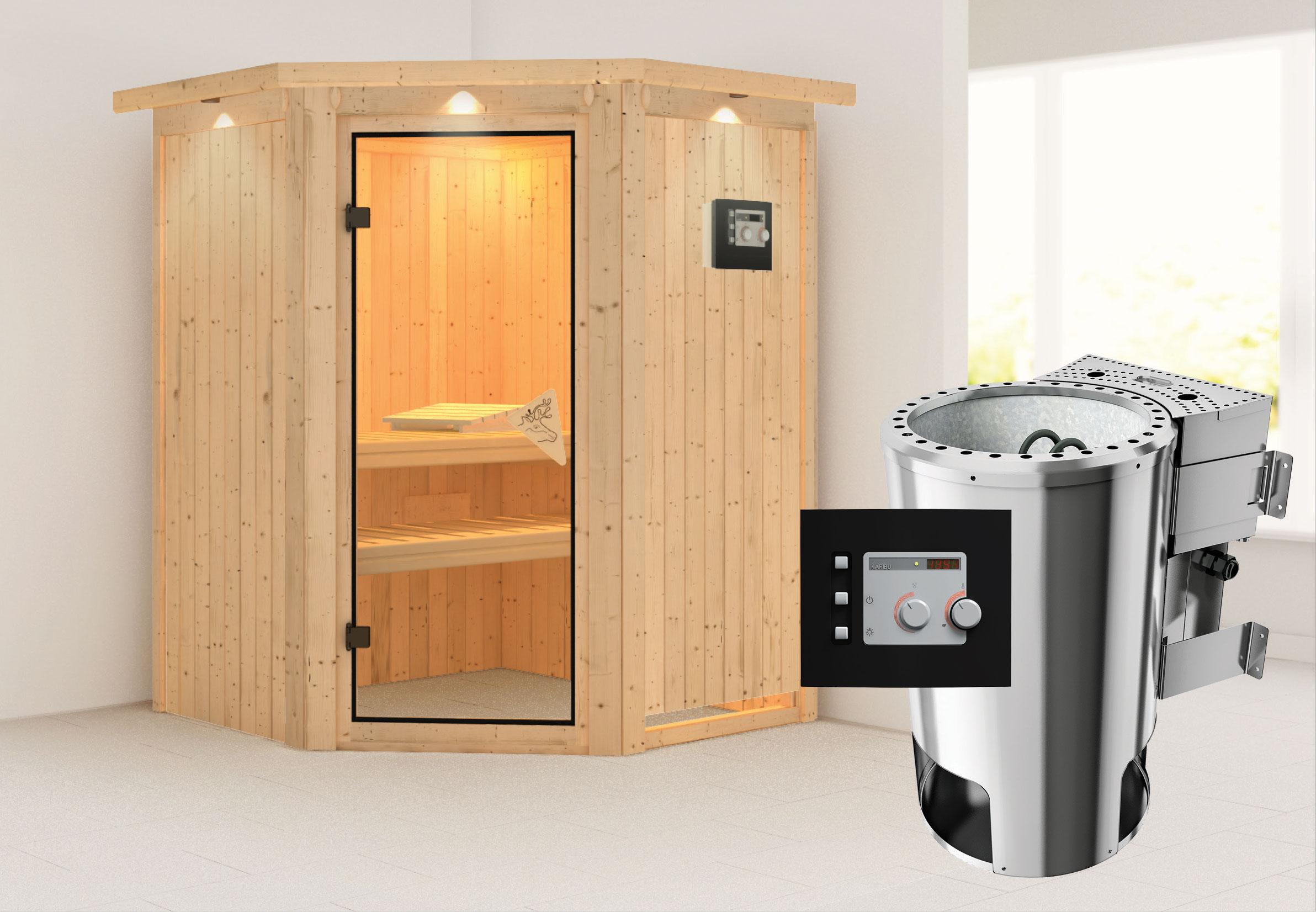 Karibu Sauna Nanja 68mm 230V Dachkranz + BioOfen 3,6kW ext classic Tür Bild 1
