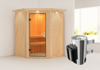Karibu Sauna Nanja 68mm 230V Dachkranz + Ofen 3,6kW intern classic Tür Bild 1