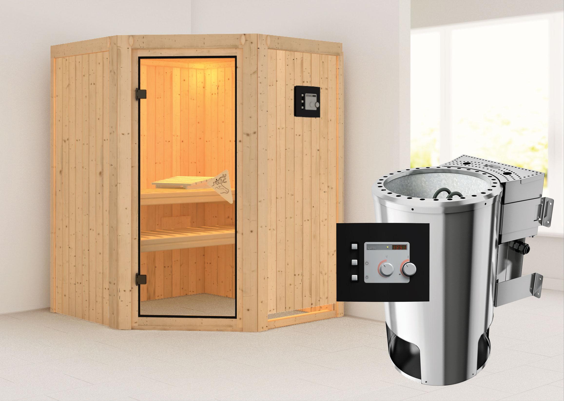 Karibu Sauna Nanja 68mm 230V mit Bio Ofen 3,6kW extern classic Tür Bild 1