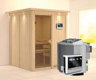 Karibu Sauna Norin 68mm Dachkranz Bio Saunaofen 9kW extern classic Tür Bild 1