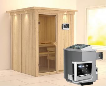 Karibu Sauna Norin 68mm Dachkranz mit Saunaofen 9kW extern classic Tür Bild 1