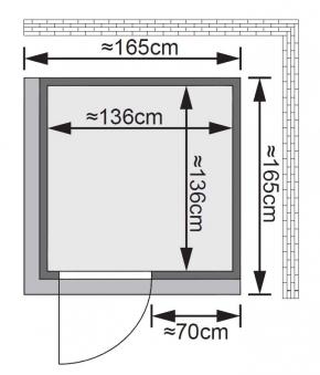 Karibu Sauna Norin 68mm Dachkranz mit Saunaofen 9kW extern classic Tür Bild 2