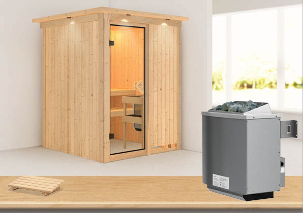 Karibu Sauna Norin 68mm Dachkranz mit Saunaofen 9kW intern classic Tür Bild 1