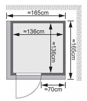 Karibu Sauna Norin 68mm Dachkranz mit Saunaofen 9kW intern classic Tür Bild 2