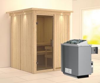 Karibu Sauna Norin 68mm Dachkranz mit Saunaofen 9kW intern moderne Tür Bild 1