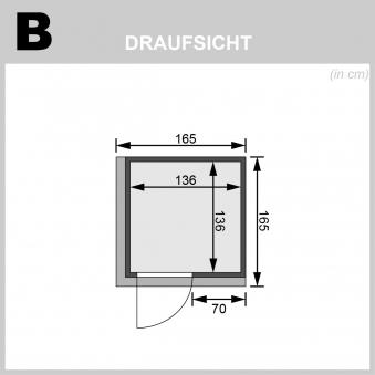 Karibu Sauna Norin 68mm Dachkranz mit Saunaofen 9kW intern moderne Tür Bild 2