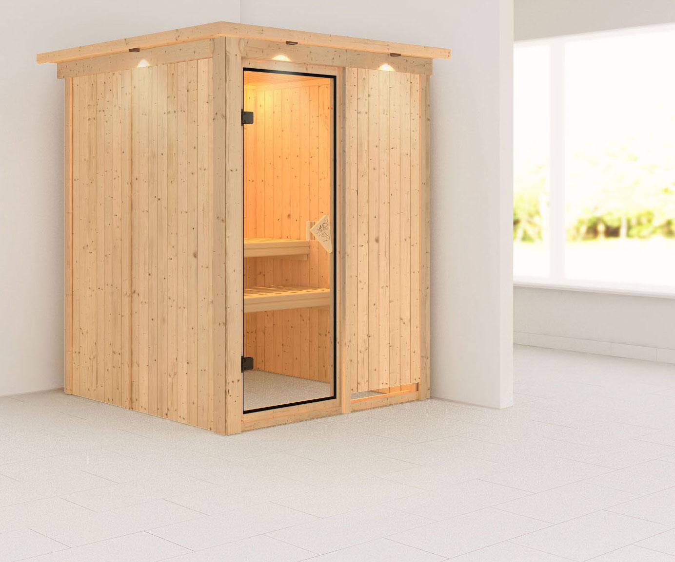 Karibu Sauna Norin 68mm Dachkranz ohne Saunaofen classic Tür Bild 1