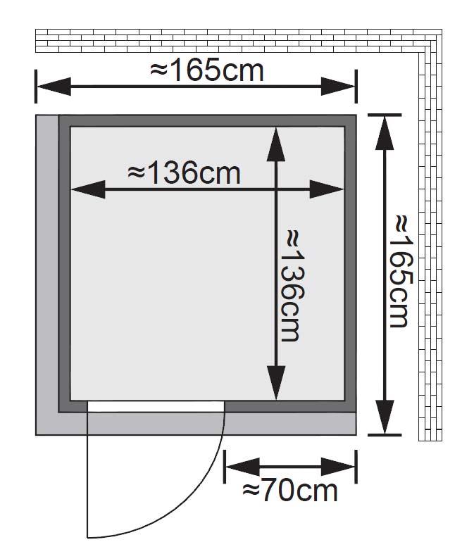 Karibu Sauna Norin 68mm Dachkranz ohne Saunaofen classic Tür Bild 2