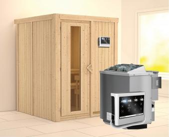 Karibu Sauna Norin 68mm mit Bio Saunaofen 9kW extern Holztür Bild 1