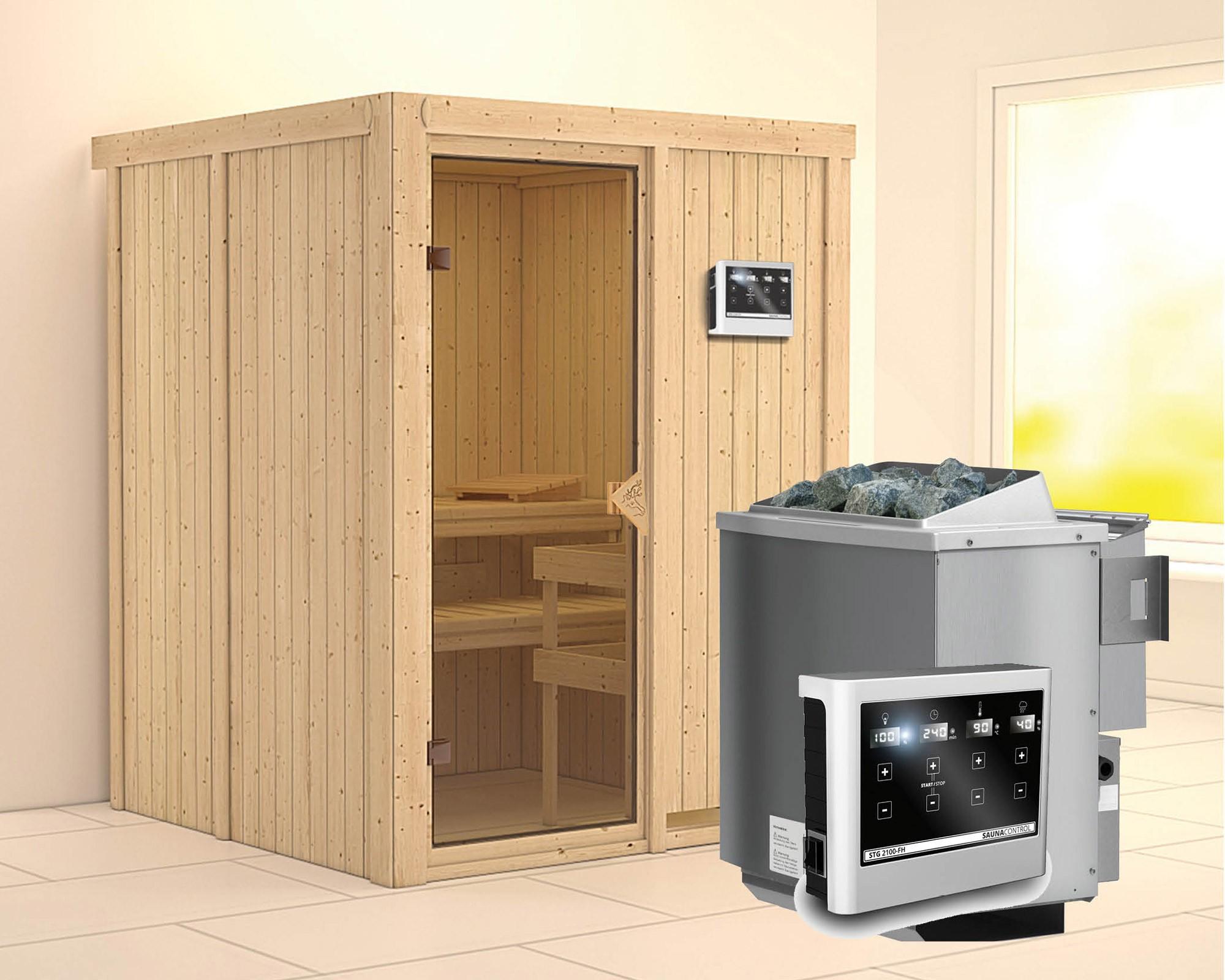 Karibu Sauna Norin 68mm mit Bio Saunaofen 9kW extern classic Tür Bild 1