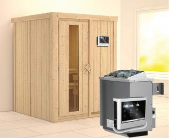Karibu Sauna Norin 68mm mit Saunaofen 9kW extern Holztür Bild 1