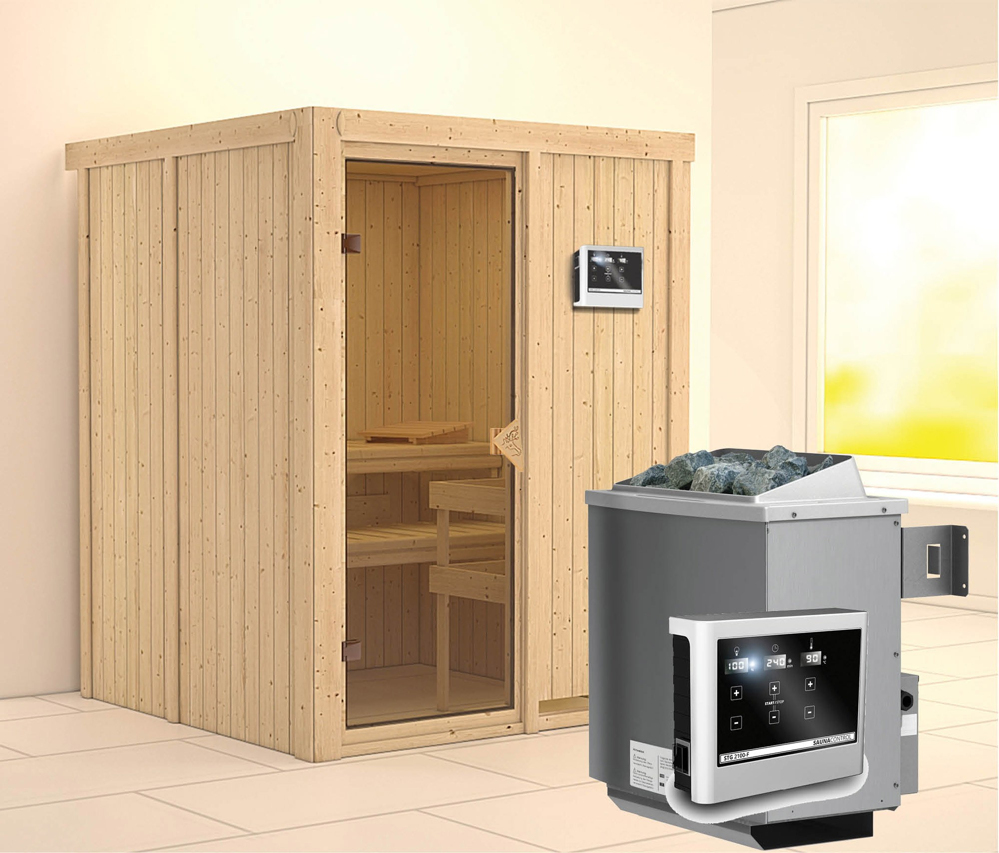 Karibu Sauna Norin 68mm mit Saunaofen 9kW extern classic Tür Bild 1
