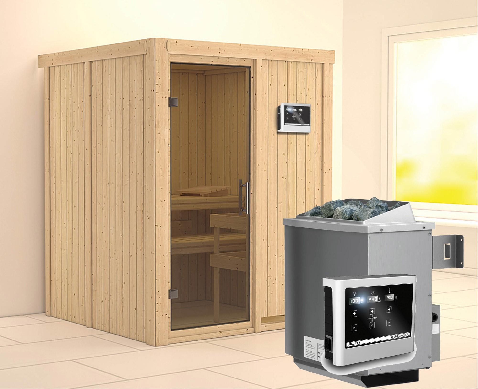 Karibu Sauna Norin 68mm mit Saunaofen 9kW extern moderne Tür Bild 1