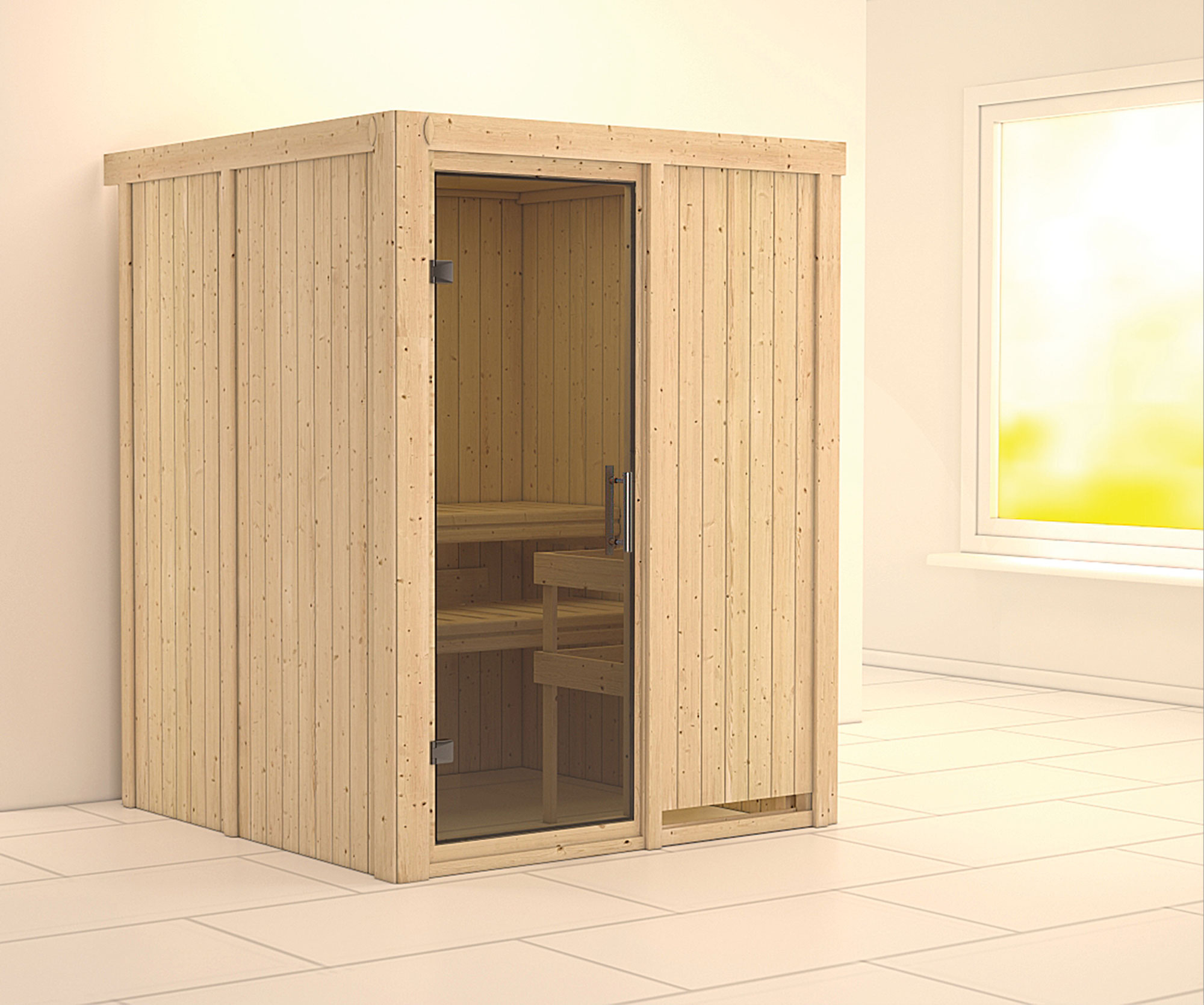 Karibu Sauna Norin 68mm ohne Saunaofen moderne Tür Bild 1