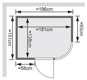 Karibu Sauna Parima 2 68mm mit Ofen 9kW extern classic Tür Bild 2