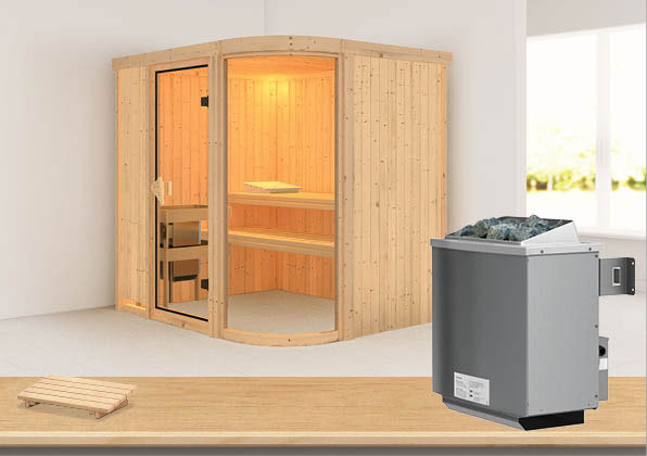 Karibu Sauna Parima 2 68mm mit Ofen 9kW intern classic Tür Bild 1