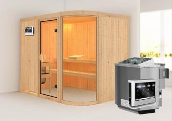 Karibu Sauna Parima 4 68mm mit Bio Ofen 9kW extern classic Tür Bild 1