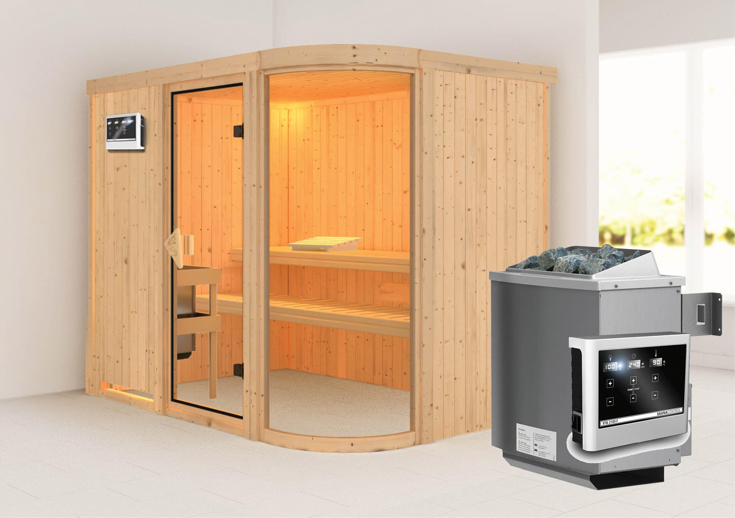 Karibu Sauna Parima 4 68mm mit Ofen 9kW extern classic Tür Bild 1