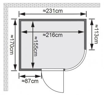 Karibu Sauna Parima 4 68mm mit Ofen 9kW extern classic Tür Bild 2