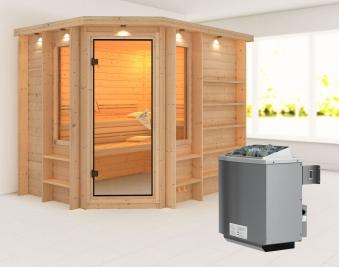 Karibu Sauna Riona 40mm Dachkranz + Ofen 9kW intern classic Tür Bild 1
