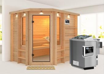 Karibu Sauna Riona 40mm Dachkranz Bio Ofen 9kW extern classic Tür Bild 1