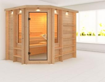 Karibu Sauna Riona 40mm Dachkranz ohne Ofen classic Tür Bild 1
