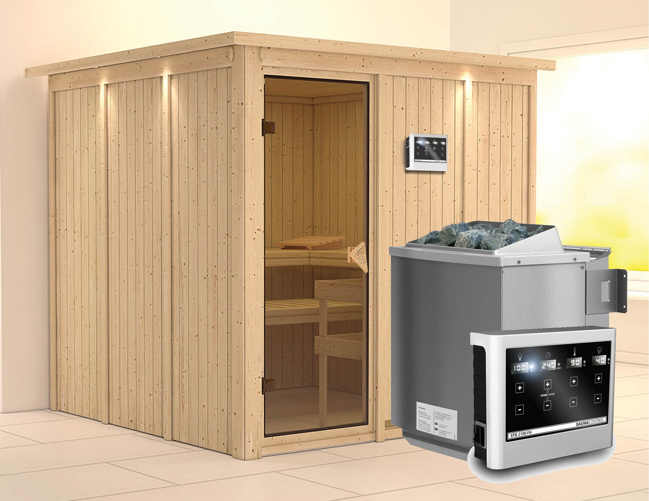 Karibu Sauna Rodin 68mm Dachkranz + Bio Ofen 9kW extern classic Tür Bild 1