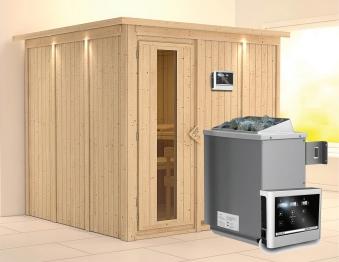 Karibu Sauna Rodin 68mm Dachkranz + Ofen 9kW extern Holztür Bild 1