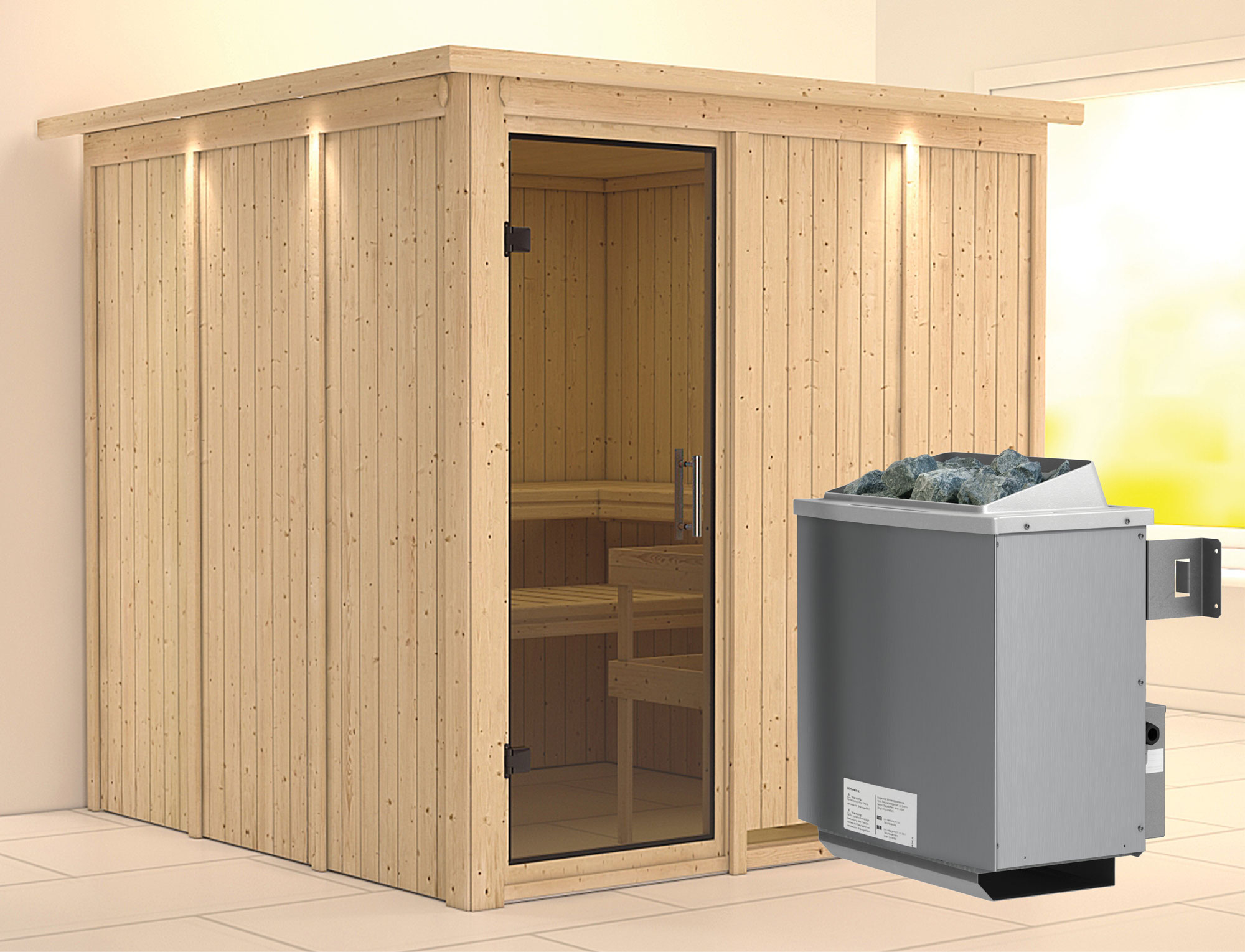 Karibu Sauna Rodin 68mm Dachkranz + Ofen 9kW intern moderne Tür Bild 1
