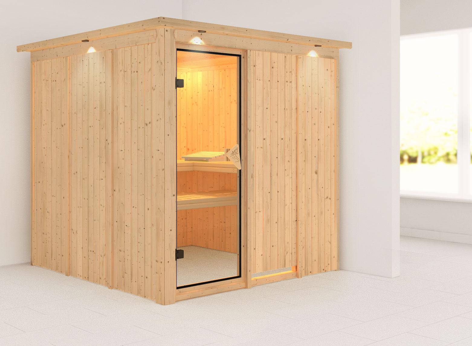Karibu Sauna Rodin 68mm Dachkranz ohne Ofen classic Tür Bild 1