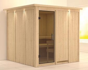 Karibu Sauna Rodin 68mm Dachkranz ohne Ofen moderne Tür Bild 1