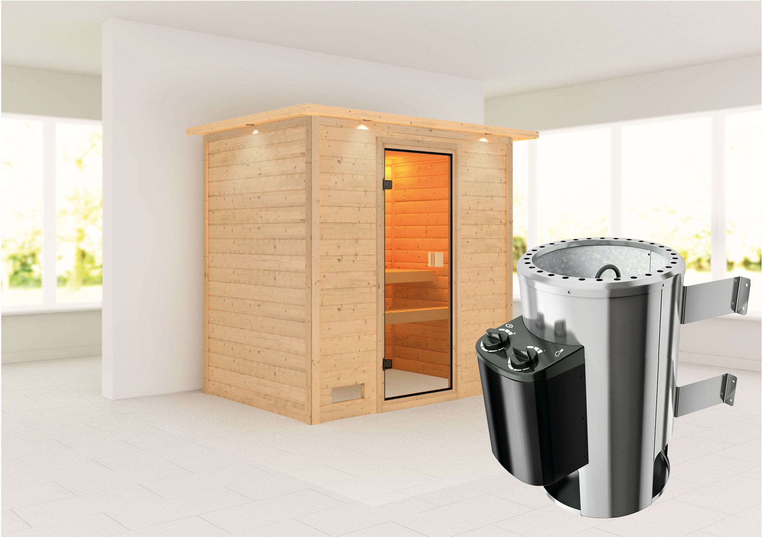 Karibu Sauna Ronja 38mm 230V Dachkranz + Ofen 3,6kW intern classic Tür Bild 1