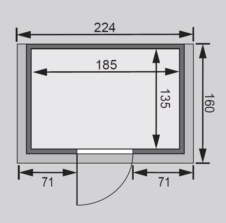 Karibu Sauna Ronja 38mm 230V Dachkranz + Ofen 3,6kW intern classic Tür Bild 2