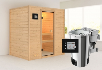 Karibu Sauna Ronja 38mm 230V mit Bio Ofen 3,6kW extern classic Tür Bild 1