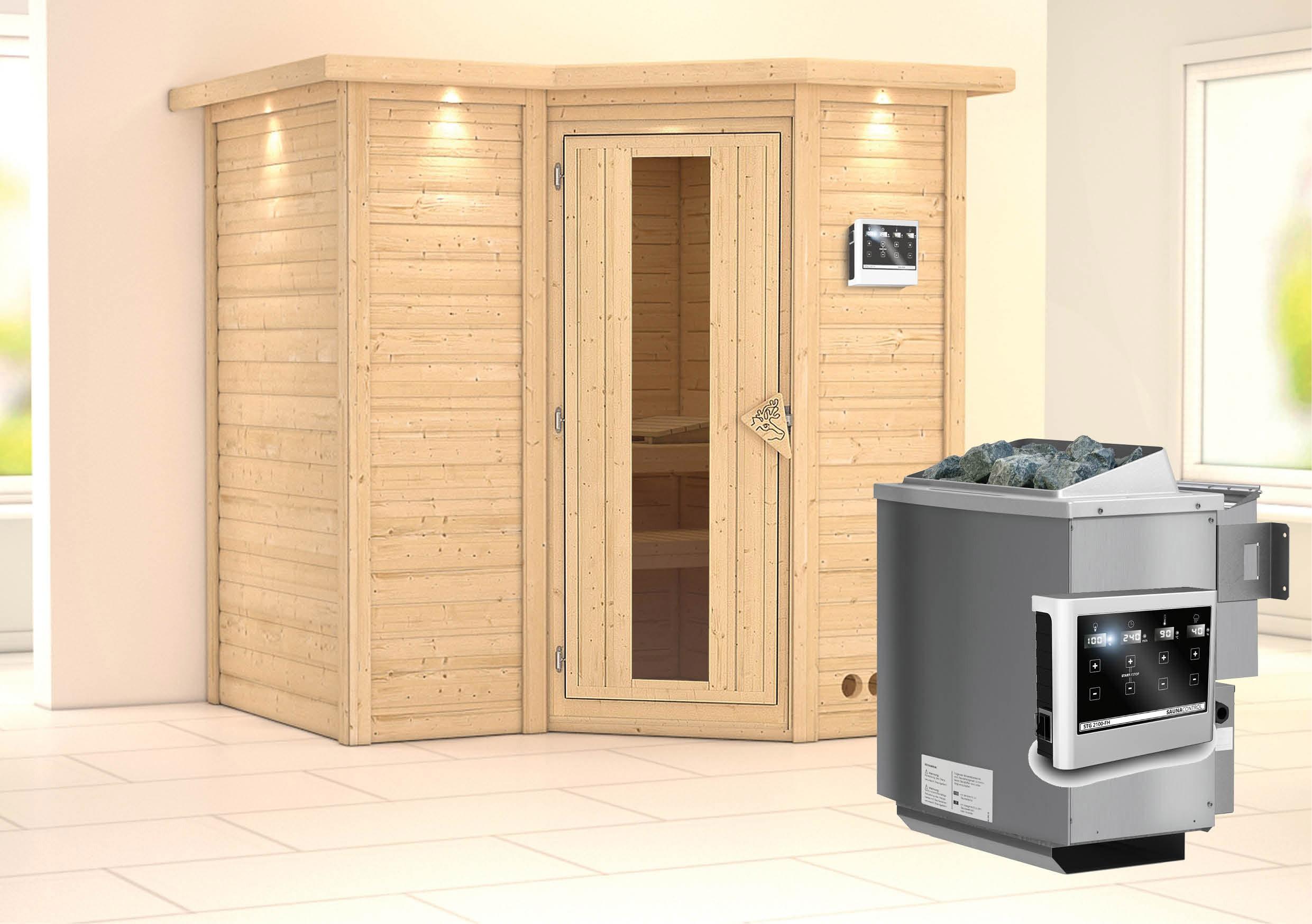 Karibu Sauna Sahib 1 40mm Dachkranz + Bio Ofen 9kW extern Holztür Bild 1