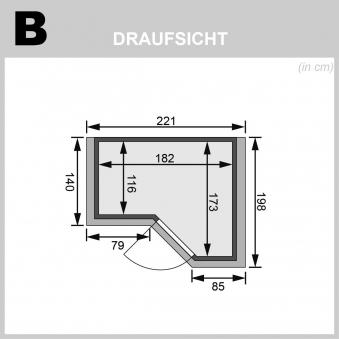 Karibu Sauna Sahib 1 40mm Dachkranz + Bio Ofen 9kW extern Holztür Bild 2