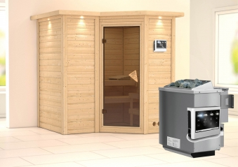 Karibu Sauna Sahib 1 40mm Dachkranz + Bio Ofen 9kW extern classic Tür Bild 1