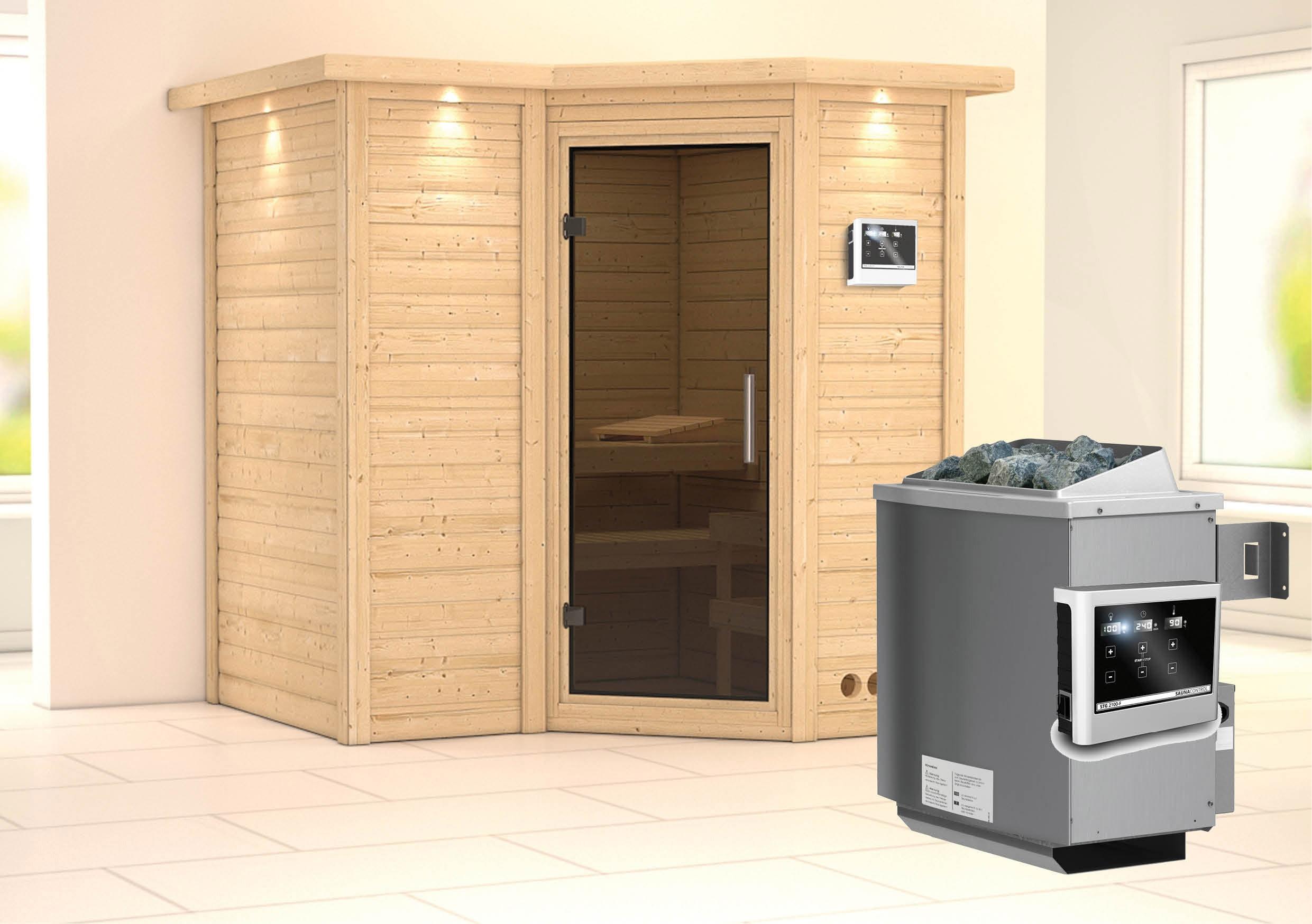 Karibu Sauna Sahib 1 40mm Dachkranz + Ofen 9kW extern moderne Tür Bild 1