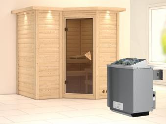 Karibu Sauna Sahib 1 40mm Dachkranz + Ofen 9kW intern classic Tür Bild 1