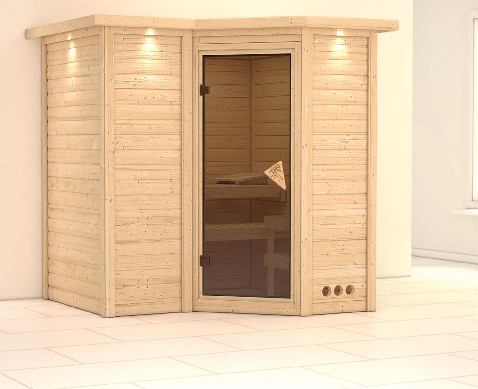 Karibu Sauna Sahib 1 40mm Dachkranz ohne Ofen classic Tür Bild 1