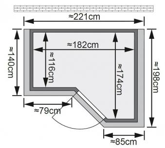 Karibu Sauna Sahib 1 40mm Dachkranz ohne Ofen classic Tür Bild 2